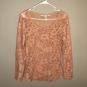 American Rag Long Sleeve Blush Pink Lace Top M